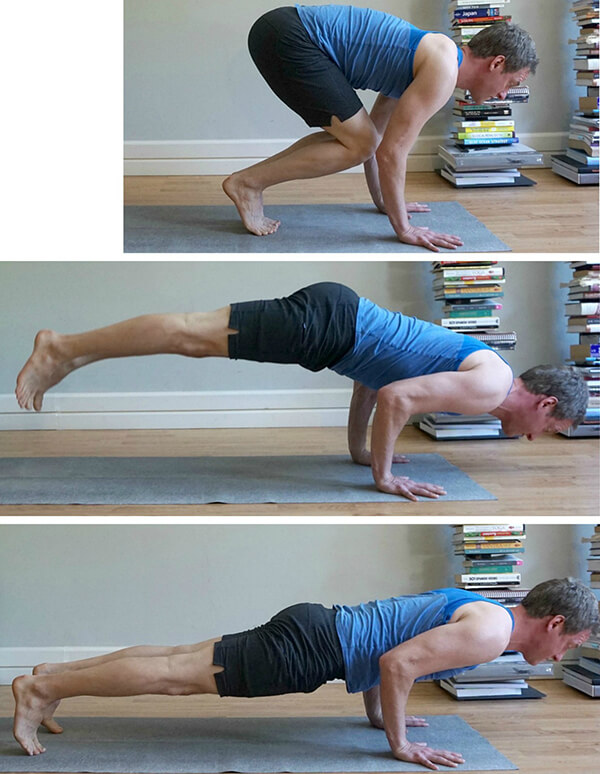 Jumping from Uttanasana to Chaturanga