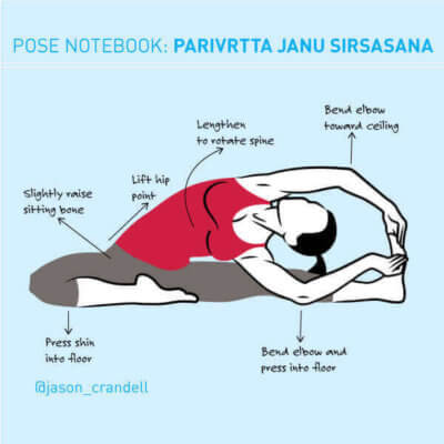 Yoga Pose Notebook: Parivrtta Janu Sirsasana (Revolved Head-to-Knee Pose)